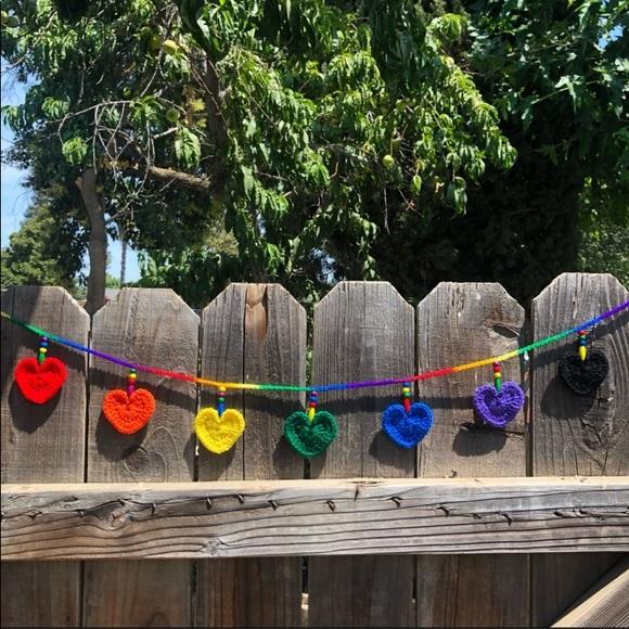 🌈Handmade Crochet Rainbow Heart Garland ❤️